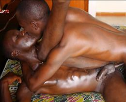 Black gay couple passionate anal sex