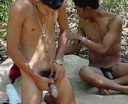 Gay boys getting ready for some sizzling anal fuck in the woods