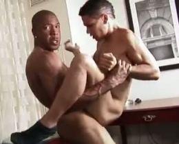 Horny black thug fucking a latino twink