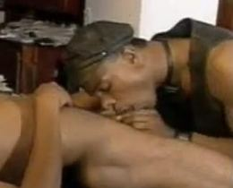 Hot ebony gays sucking and fucking in the table
