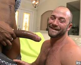 Hunky gay white dude sucking a big black cock