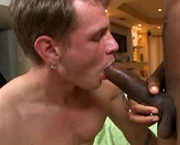 White guy fucking and sucking a very big black cock for the first time